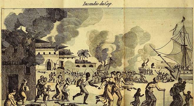Ilustração mostra ataque em plantação de Cap-Français, o primeiro ataque de uma guerra civil que duraria 12 anos