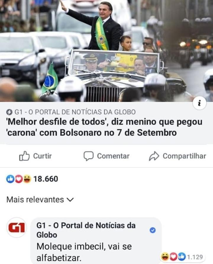 Portal de notícias atacou criança de 9 anos que desfilou com Bolsonaro
