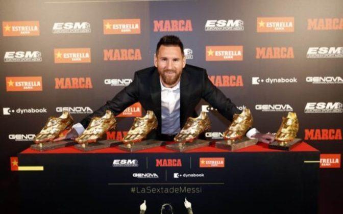 Até o momento, Lionel Messi já acumulou seis 'Chuteiras de Ouro' desde o início de sua carreira (prêmio de artilheiro da Europa ao longo de uma temporada).