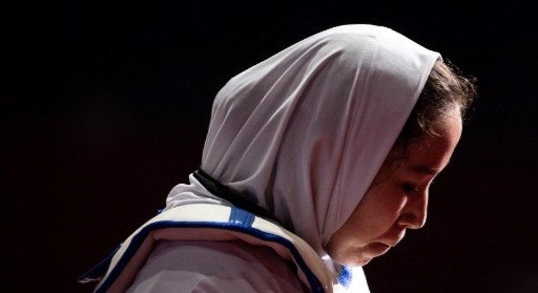 Atleta afegã Zakia Khudadadi na competição de taekwondo da Paralimpíada de Tóquio 2020