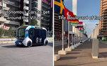 Para se locomover, estão a disposição os veículos autônomos (sem motorista) e elétricos do modelo e-Pallete, feito pela Toyota
