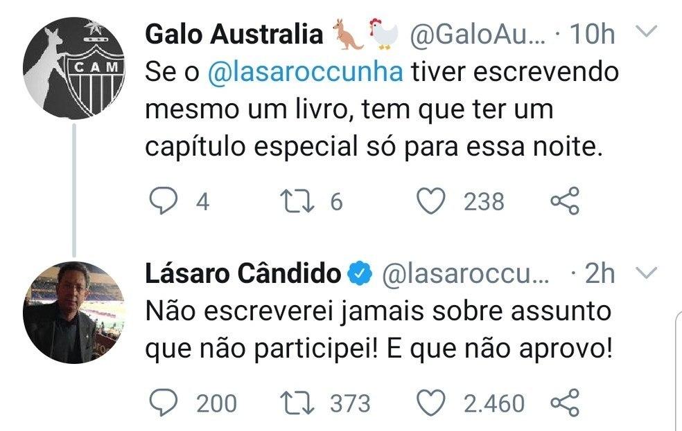 VIce-presidente do Atlético Mineiro. Deixando claro que não aprovava a negociação