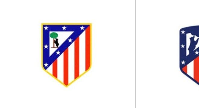 Atlético de Madrid - O Atlético de Madrid mudou seu escudo na temporada 2017-2018 e passou a ter tons mais escuros e um design mais simples, com as faixas mais grossas
