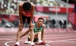 Brazil's Altobeli Santos Da Silva reacts after competing in the men's 3000m steeplechase heats during the Tokyo 2020 Olympic Games at the Olympic Stadium in Tokyo on July 30, 2021. Jewel SAMAD / AFP