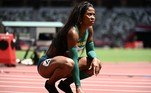 Brazil's Vitoria Cristina Rosa reacts after competing in the women's 200m heats during the Tokyo 2020 Olympic Games at the Olympic Stadium in Tokyo on August 2, 2021.