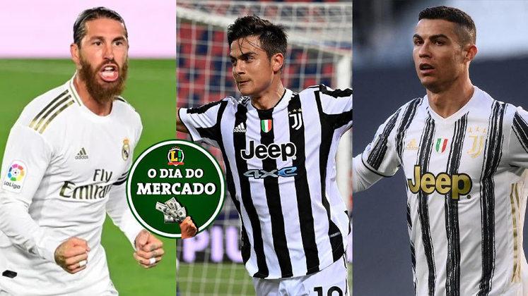 Atualmente sem contrato com o Real Madrid, Sergio Ramos é sondado por outro gigante espanhol. Juventus escolhe entre Dybala e Cristiano Ronaldo para definir quem ficará no clube. Tudo isso e muito mais no Dia do Mercado de sexta-feira.