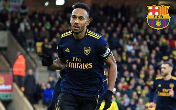Aubameyang. Posição: Atacante. Idade: 30 anos. Clube atual: Arsenal. Clube interessado: Barcelona.