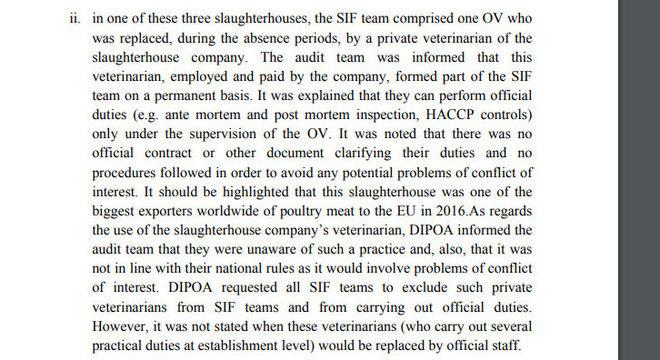 Auditoria aponta em relatório veterinário incorporado à equipe do SIF