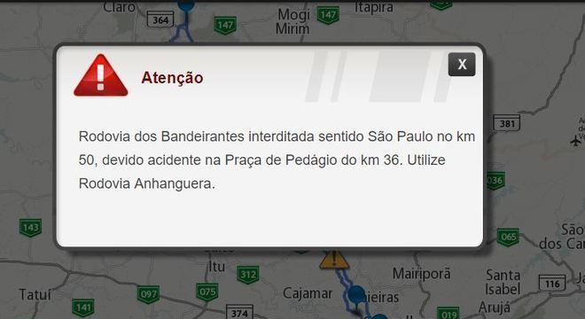 Aviso no site da concessionária que administra a rodovia