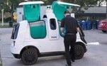 Logo, os entregadores levarão o pedido até o R2, robô desenvolvido pela Nuro, empresa especializada na produção de veículos autônomos