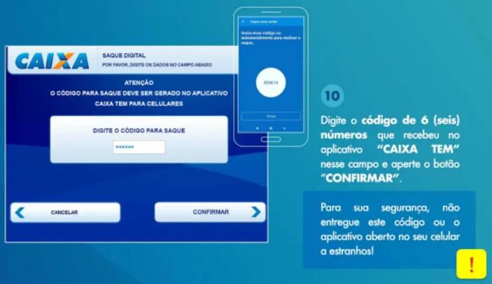 """Passo 3: insira o código de seis dígitos que você criou no aplicativo CAIXA Tem e clique em """"Confirmar"""""""