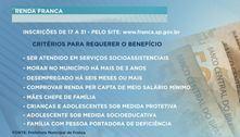 Auxílio: começam amanhã inscrições para o Renda Franca
