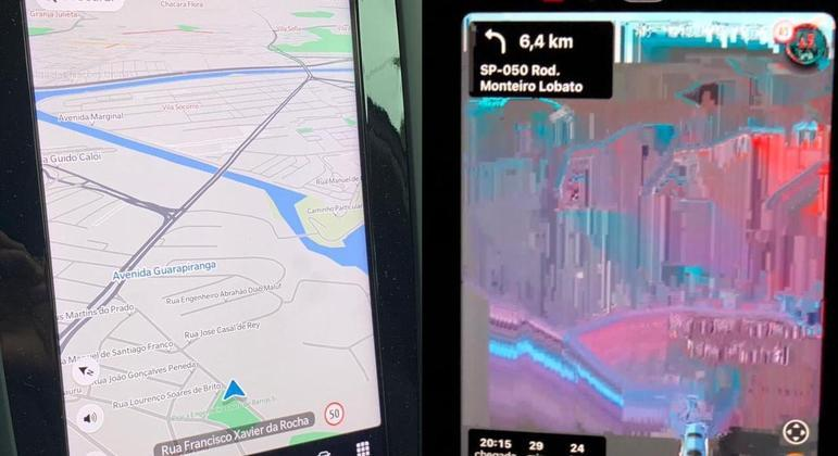 À esquerda, usando GPS e à direita sem o sinal de celular com o aplicativo waze