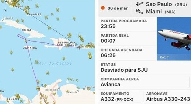 Aplicativo para rastrear voos mostra o desvio feito pela aeronave da Avianca