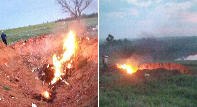 Queda da aeronave abriu uma cratera em fazenda de Minas Gerais