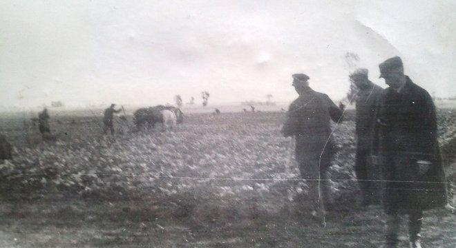 Avô de Julie (no canto direito) supervisionava o trabalho forçado em propriedades na Polônia