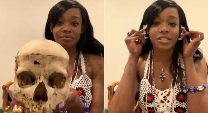 Azealia exibiu alguns dos ossos que possui em sua coleção durante entrevista