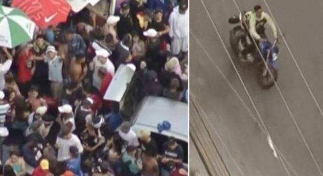 Jovens empinam moto sem capacete e com a placa encoberta