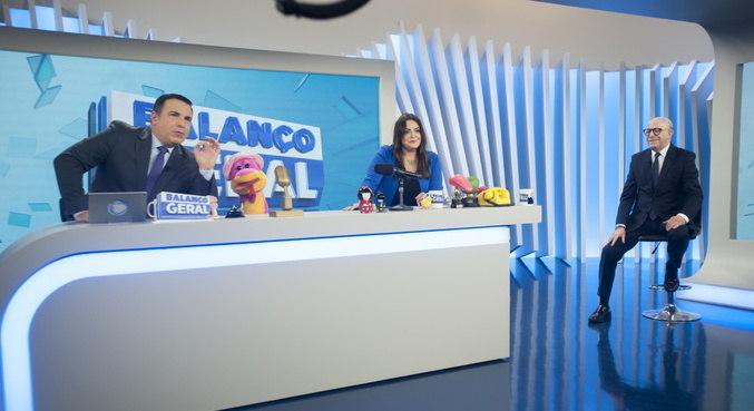 Reinaldo Gottino, Fabíola Reipert e Renato Lombardi no 'Balanço Geral SP'