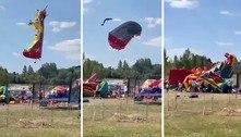 Brinquedos voam 10 metros com crianças dentro após ventania