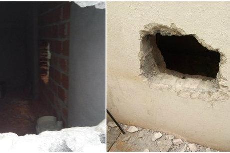 Buracos nas paredes permitiram a entrada do grupo