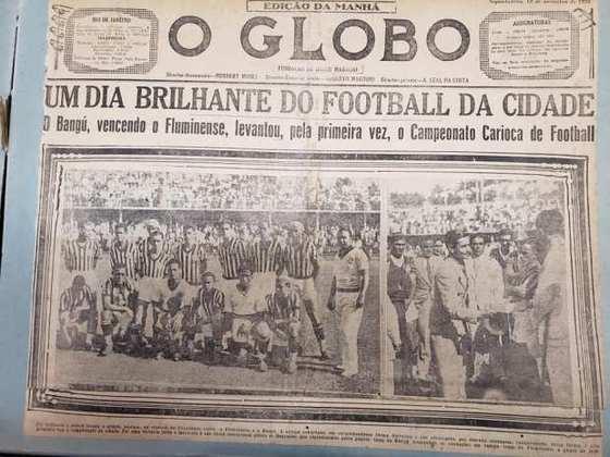 Bangu Campeão Carioca de 1933 - Capa do Jornal 'O Globo'.