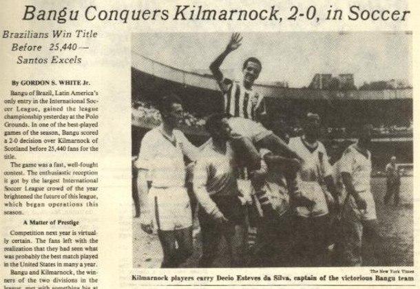 Bangu campeão da International Soccer League de 60 - Capa do The New York Times.