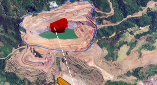 Talude da mina (vermelho) pode se romper até o dia 25 de maio