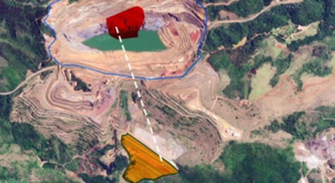 Talude (vermelho) pode ceder e abalar barragem (amarelo)