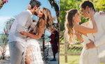 Bárbara Evans e Gustavo TheodoroPor conta da pandemia de covid-19, o casal adiou a cerimônia duas vezes. Eles então selaram a união também duas vezes, sendo ambas intimistas, mas uma no Brasil e outra em Zanzibar, na Tanzânia, em uma praia paradisíaca
