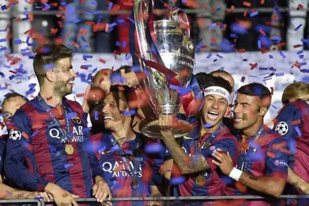 Barcelona - 2015 - O trio MSN com Messi, Suárez e Neymar fez história no Barcelona. O time conquistou a Champions League, a La Liga e a Copa del Rey, além da Supercopa da UEFA e do Mundial de Clubes.