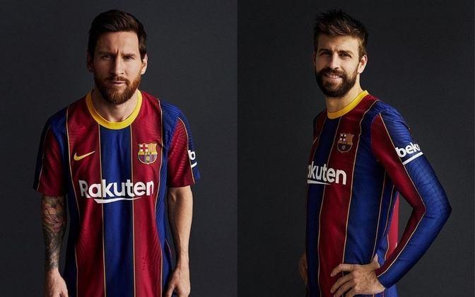 Barcelona e Nike lançaram nesta terça-feira o novo uniforme titular do clube catalão. O modelo, que foi comparado a camisa do Madureira nas redes sociais no Brasil, será usado na temporada 2020/2021. A versão masculina da camisa leva o patrocínio da Rakuten. Já a versão feminina tem a Stanley como patrocinadora. Veja imagens da camisa.