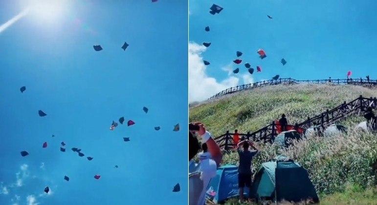 Dezenas de barracas flutuaram como pipas após forte ventania em parque chinês