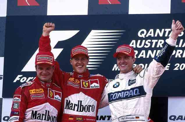 Barrichello chegou em alta na Ferrari: logo em sua primeira corrida, na Austrália, subiu ao pódio