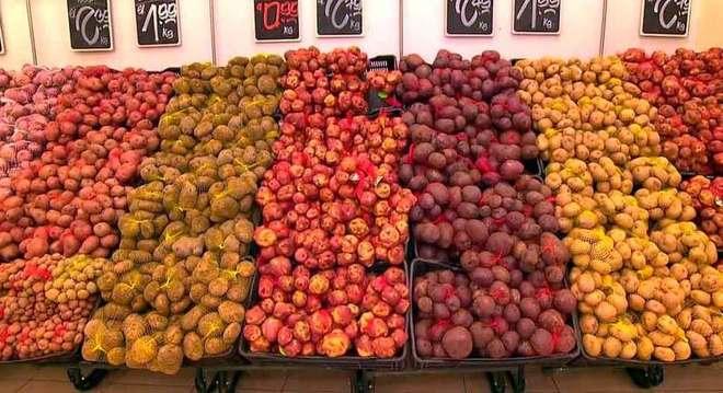 Tipos de batata, num mercado de Lima, Peru