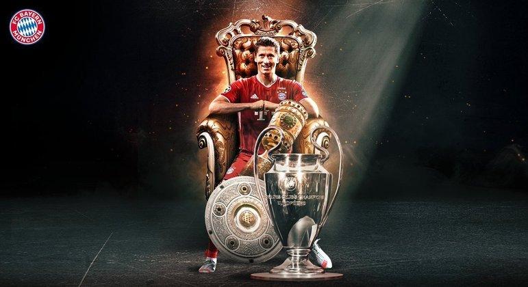 Lewandowski, na capa do Twitter do Bayern, o campeão de 2019/2020