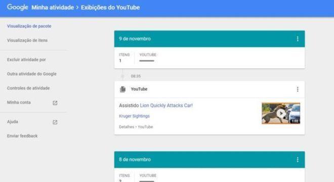 Google permite que você veja e exclua suas informações de busca no YouTube