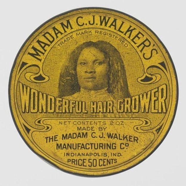 Produto para cabelos inventado por Madam C. J. Walker. Ela costumava usar sua própria imagem nas embalagens