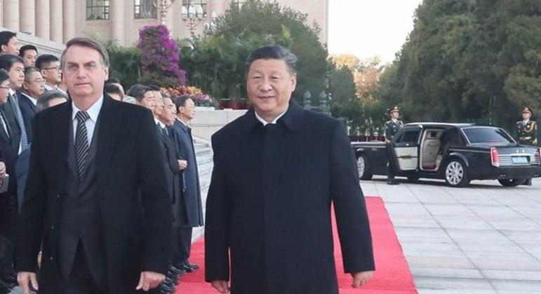 O presidente Jair Bolsonaro ao lado de Xi Jinping em visita à China em outubro de 2019