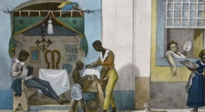 Serviços de barbeiros, cabelereiros, vendedoras - retratados nesse pintura de Jean-Baptiste Debret - eram formas de juntar dinheiro para a alforria