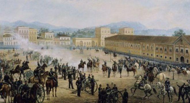 O quadro 'Proclamação da República', de Benedito Calixto; com fim da monarquia, partidos republicanos tiveram dificuldade de se organizar nacionalmente