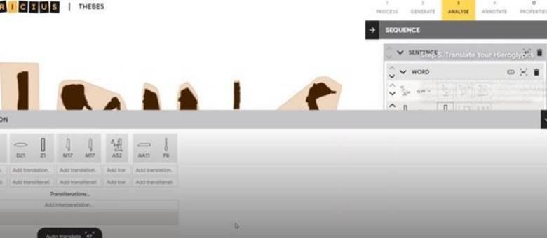 Ferramenta permite aos usuários destacarem os hieróglifos a fim de ajudar o aplicativo a identificá-los