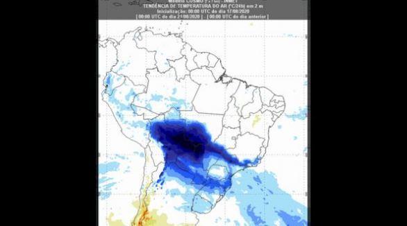 Mapa do Inmet mostra tendência de temperatura do ar para os dias 20 e 21 de agosto pelo país