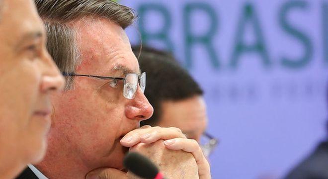 Bolsonaro na reunião de 22 de abril; gravação do encontro teve seu sigilo quase integralmente retirado por decisão do ministro do STF Celso de Mello
