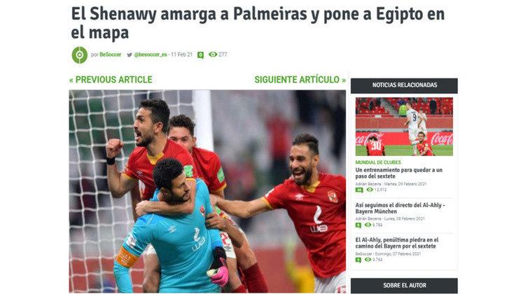 Be Soccer - O jornal espanhol destacou o sabor amargo da derrota do Palmeiras e deu destaque ao Egito no cenário do futebol..