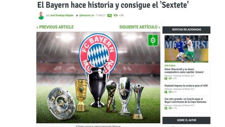 Be Soccer - O jornal espanhol destacou o sexteto conquistado pelo Bayern e afirmou que o clube 'fez história'.