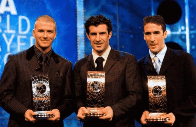Beckham ficou em segundo lugar na premiação de melhor do mundo em duas oportunidades. Os vencedores foram o brasileiro Rivaldo e o português Figo (em 1999 e 2001).