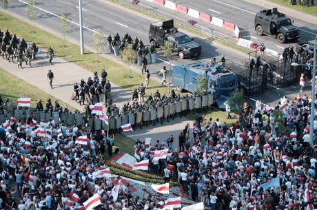 Manifestantes se reuniram perto de casa de Lukashenko