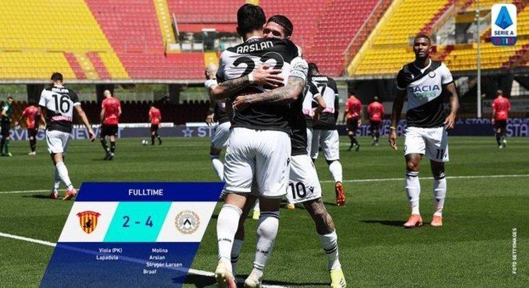 Benevento, derrota para a Udinese e o perigo da zona de queda à Série B