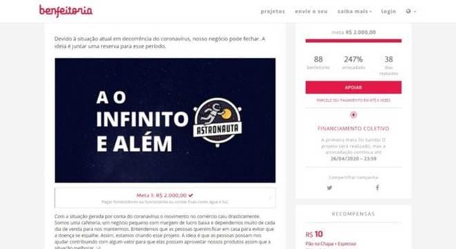 Astronauta Café, localizado na Vila Mariana, na zona sul de São Paulo, criou uma estratégia de 'compre agora e consuma depois'